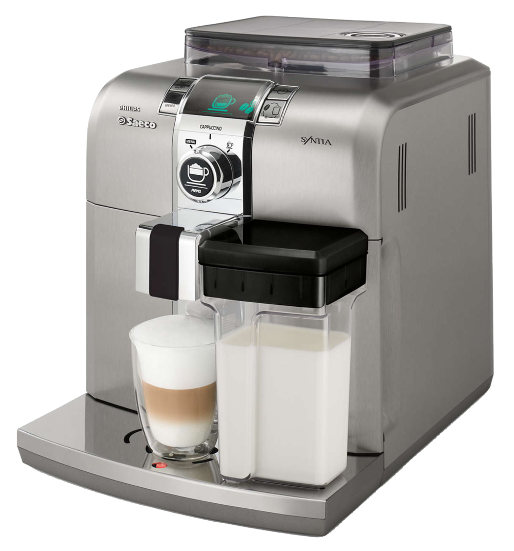 Syntia Saeco   Syntia  Saeco máquina de café expresso desenvolvido para ambientes sofisticados. Máquina desenvolvida em aço inox de fácil manuseio e regulagem.Faz café curto e longo nas intensidades fraco, médio e forte.
