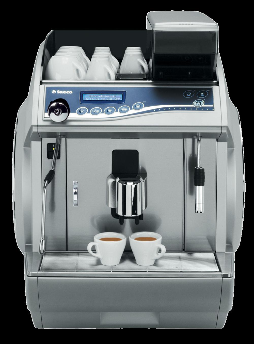 Idea LuxeSaeco   Idea Luxe  fornece café, água quente e vapor uma vez que incorpora 2 caldeiras em aço inoxidável. Possui 3 circuitos de água: 1 para café, 1 para água quente (a água é aquecida por um alternador de calor independente anexado à caldeira) e 1 para o vapor.