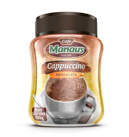 Café Manaus Instantâneo Cappuccino Chocolate  O Café Manaus Instantâneo Cappuccino Chocolate....   Peso Líquido: 180g   Código de barra: 7896045100293