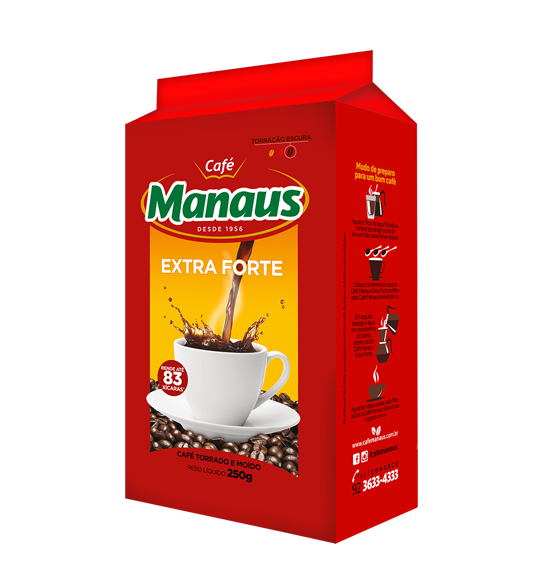 Café Manaus Extra Forte Vácuo  O Café Manaus é pioneiro no uso da embalagema vácuo no norte do Brasil.O processo a vácuo puroretira o ar do interior daembalagem no momento doempacotamento. Assim, ocafé não sofre oxidação, aumentando suadurabilidade. Após aberto, ocafé retoma as característicasoriginais da mistura de grãos, moagem e torrefação, comose acabasse de ser embalado.O verdadeiro e bom CaféManaus de sempre.   Peso Líquido: 250g Código de barra: 7896045101085