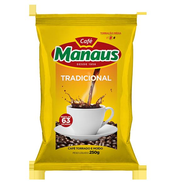 Café Manaus Tradicional   O Café Manaus Tradicional éproduzido com a mesma mistura de grãos (blend), colhidos nas melhores regiões produtoras do Brasil, rigorosamente selecionados e acompanhados, safra a safra, desde 1956. A torração escura e a moagem fina fazem um café forte, conhecido há várias gerações pelo aroma e sabor inconfundíveis.Tradição, pureza e qualidade são as garantias que fazem do Café Manaus, há mais de 50 anos,sempre o nosso café.   Peso Líquido: 100g Código de barra: 7896045100026   Peso Líquido: 250g Código de barra: 7896045100026 Peso Líquido: 500g Código de barra: 7896045100033