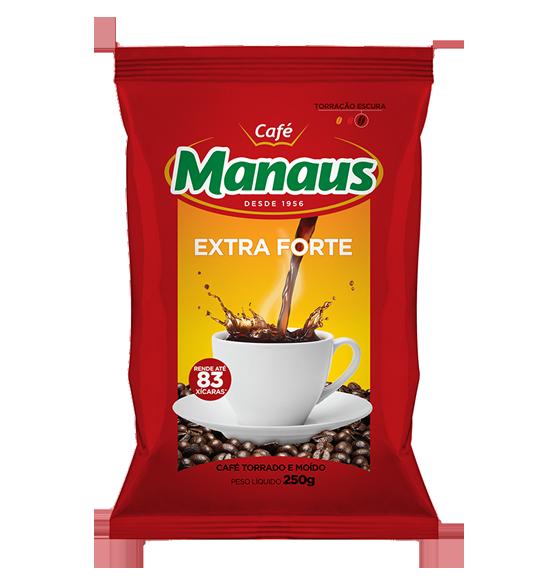 Café Manaus   Extra Forte   O Café Manaus ganhou uma nova combinação de grãos (blend) com o ponto de torra escura e mais prolongada. Esta nova fórmula é o segredo do novo Café Manaus Extra Forte. Um café preparado para pessoas exigentes que gostam de beber um café forte, com aroma acentuado e sabor marcante, que permanece por mais tempo no paladar.Café Manaus Extra Forte comprovadamente um café forte.   Peso Líquido: 100g Código de barra: 7896045100224   Peso Líquido: 250g Código de barra: 7896045100200 Peso Líquido: 500g Código de barra: 7896045100026