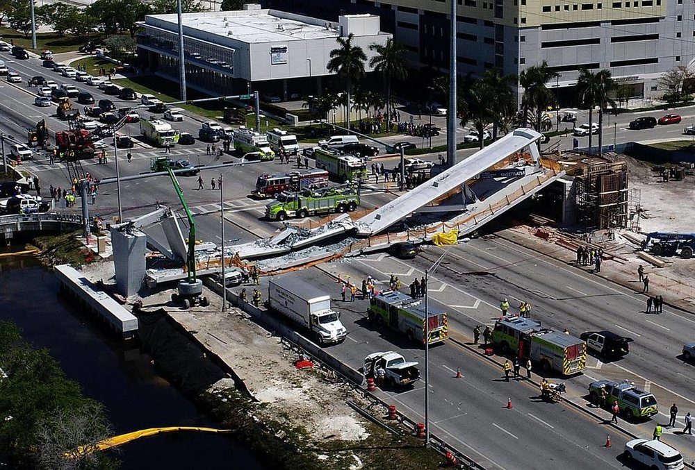 The FIU-Sweetwater UniversityCity Bridge collapsed on a busy road March 15, killing six people and injuring several more.  -Pedro Portal Miami Herald