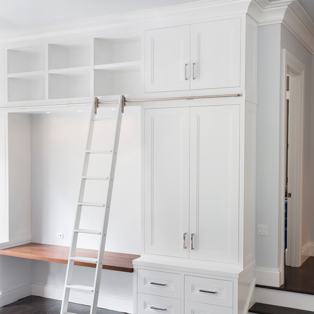 Painted Office Cabinetry With Rolling Ladder — Hudson Cabinetry Design