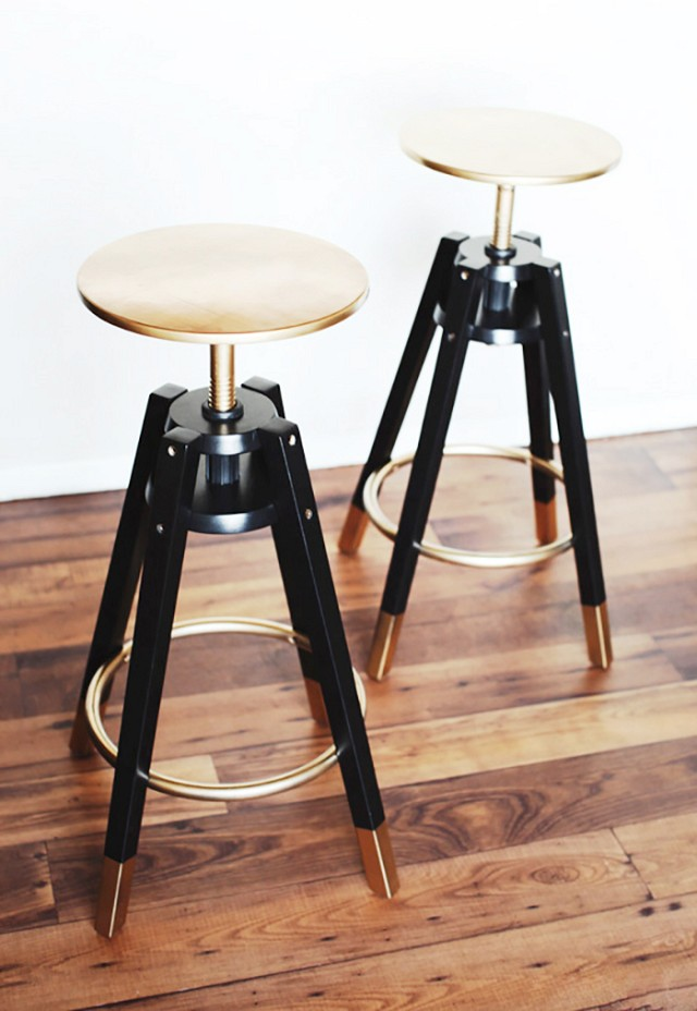 diy stools from IKEA found on pinterest : $40. and freaking cute. ethan doesn't know how the spray painted seat would really work as it's screwed up and down in the stool. so we'll see. i may just paint the ends.   http://www.mydomaine.com/first-apartment-ikea-hacks/