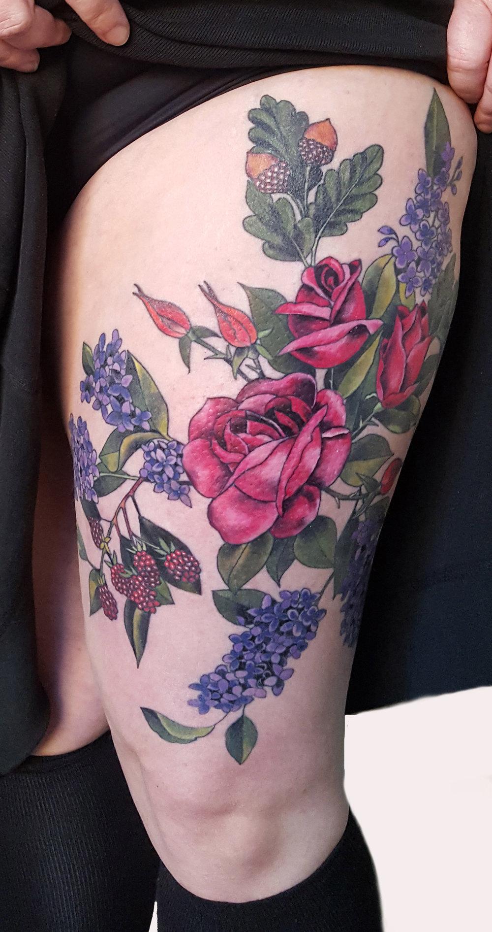 Botanical Thigh Tattoo