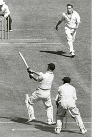 Len Hutton pulls Ian Johnson during the 1950-51 series