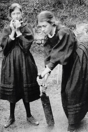 Vanessa looks focussed on the ball while Virginia is probably dreamier than she should have been behind the stumps. St Ives, circa 1896. Picture Courtesy:  The Paris Review