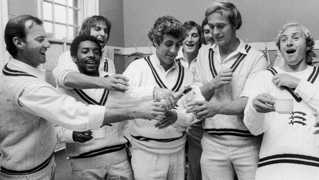 Middlesex players celebrate after securing County Championship title in 1976. From left: Mike Smith, Roland Butcher, Mike Selvey, Mike Brearley (c),  Phil Edmonds , Graham Barlow © Getty Images