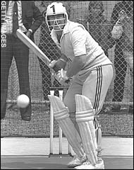 Dennis Amiss bats in the nets with a helmet before the second Packer Supertest in Melbourne, December 1978 © Getty Images