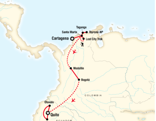Route of Cartagena to Quito on a Shoestring