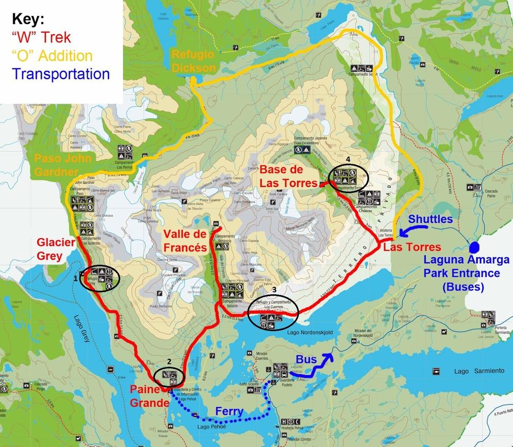 """""""W"""" Trek Torres Del Paine - Our Route"""