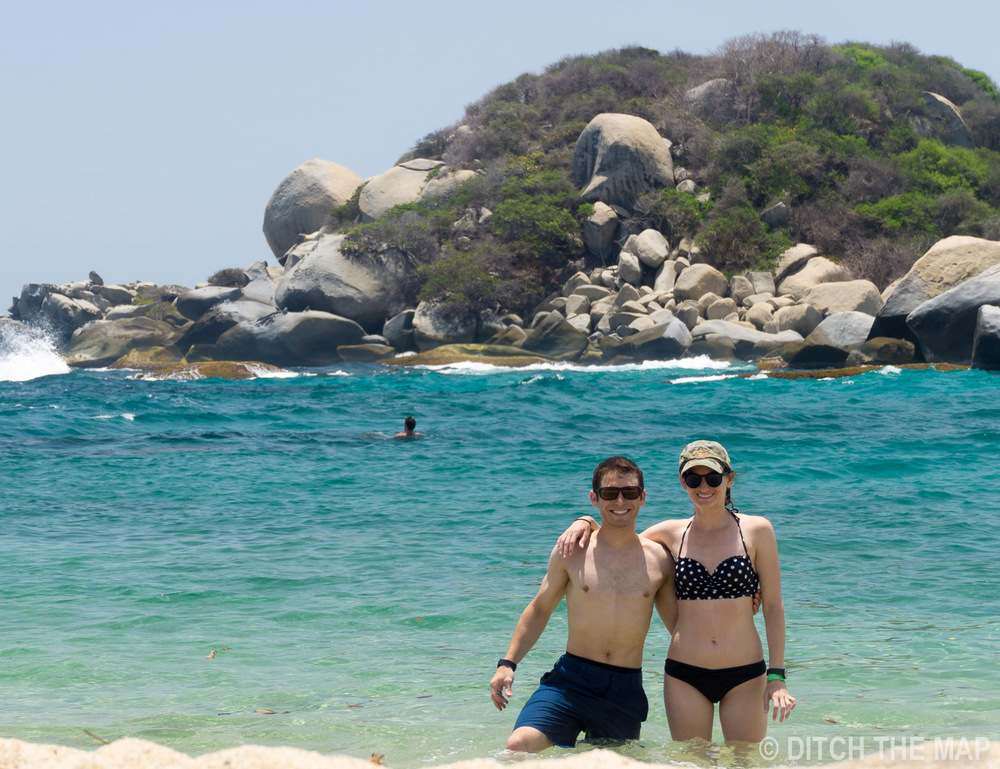 SYLVIE AND I ON THE BEACH IN TAYRONA NATIONAL PARK