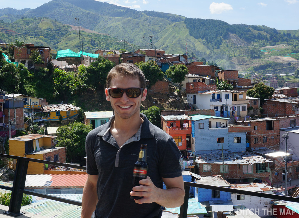 Enjoying a beer in Medellin, Colombia