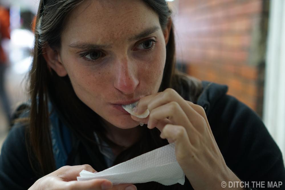 Tasting a soursop in Bogota, Colombia