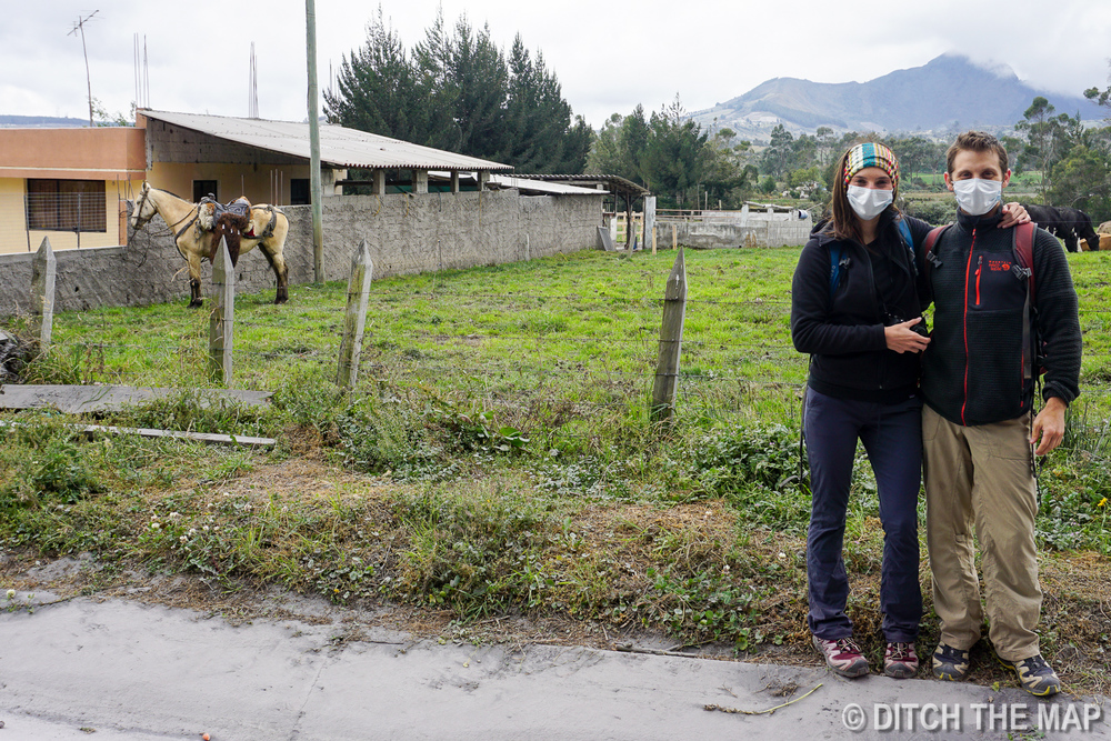 We wear masks due to all the ash in the air in Cotopaxi, Ecuador