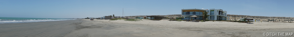 Panoramic of our private beach in Colan, Peru