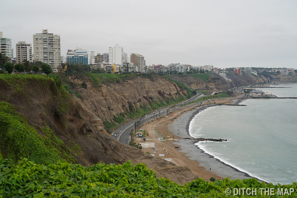 Coastline of Mira Flores in Lima, Peru