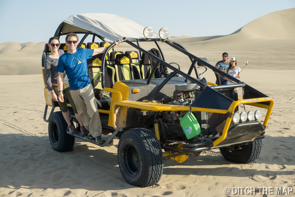 Sylvie and I get ready for sandboarding in Huacachina, Peru