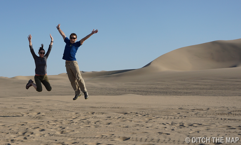Sylvie and I get ready to sandboard in Huacachina, Peru
