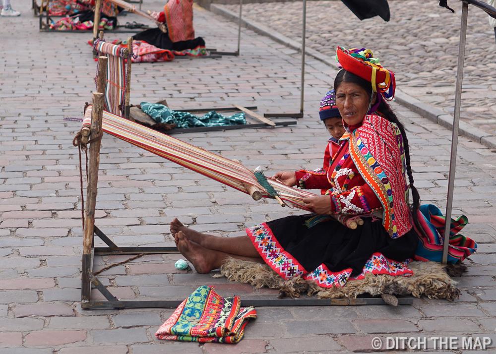 Native Peruvian Weaving in Plaza de Armas in Cusco, Peru