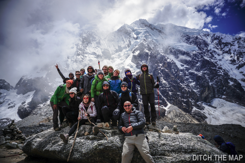 OUR GROUP POSES ABOVE 15K FEET AT THE SALKANTAY MOUNTAIN PASS  , PERU