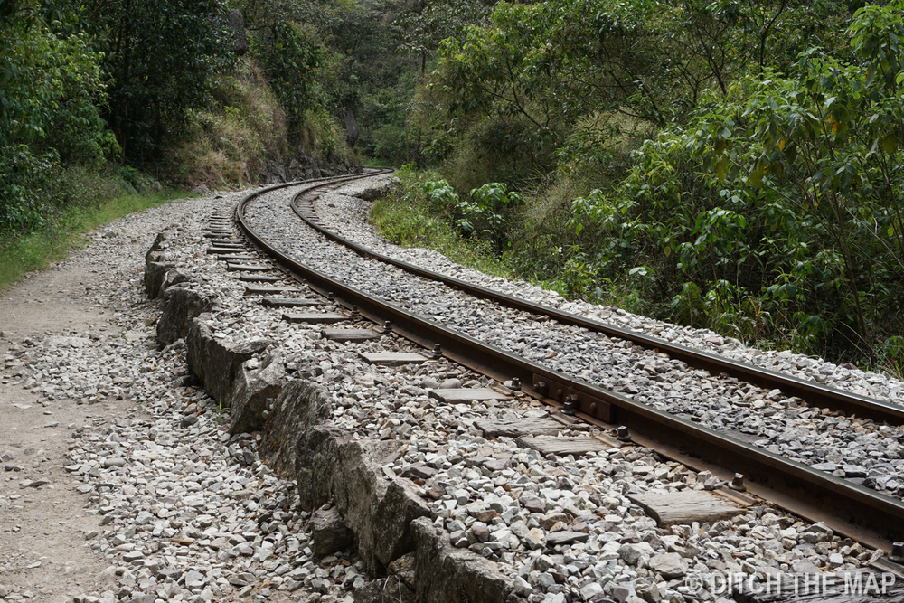 Train track leading to Aguas Calientes