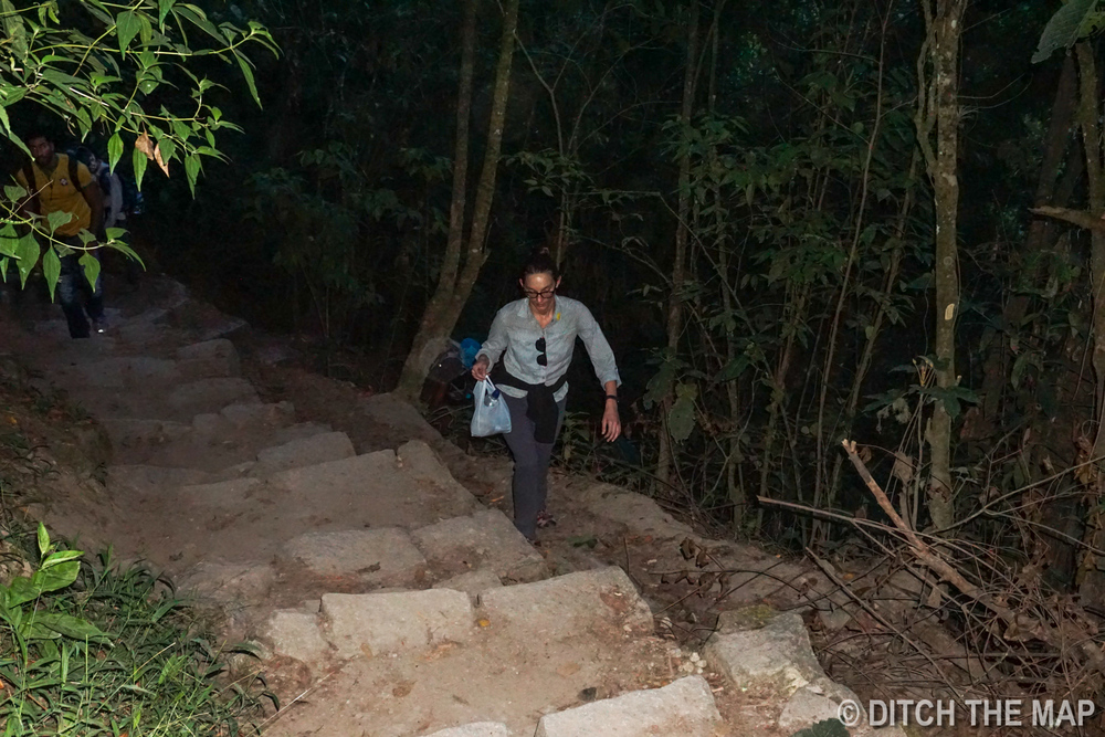 Sylvie hikes up the thousands of stairs to Machu Picchu at 5 in the morning
