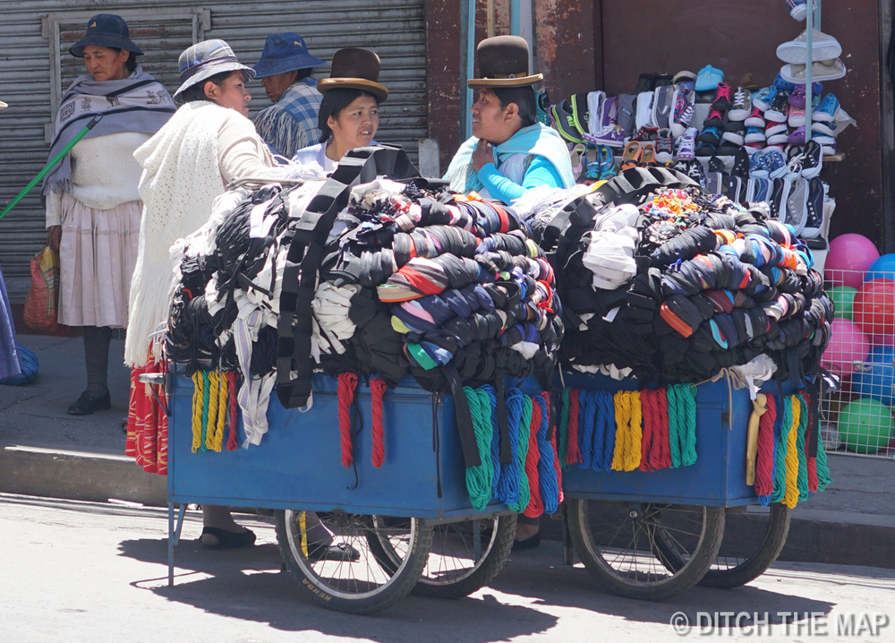 "Indigenous Women wearing traditional ""silly"" hats in La Paz, Bolivia"