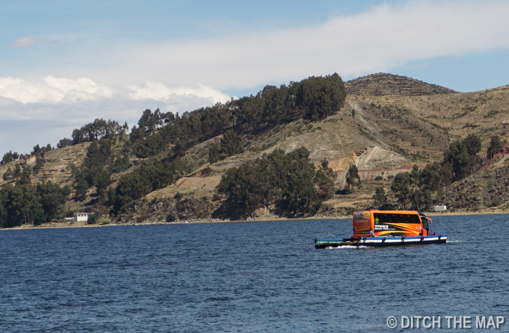 We take a ferry across Lake Titicaca...our bus follows!