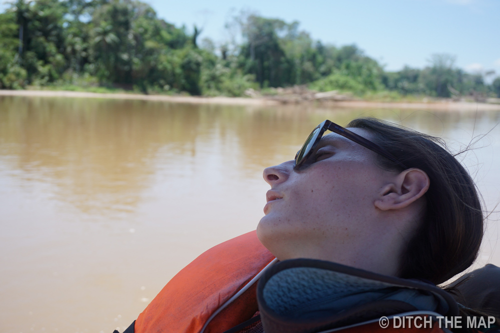 Sylvie falls asleep during our 3-hour ride to The Amazonian Jungle, Bolivia,