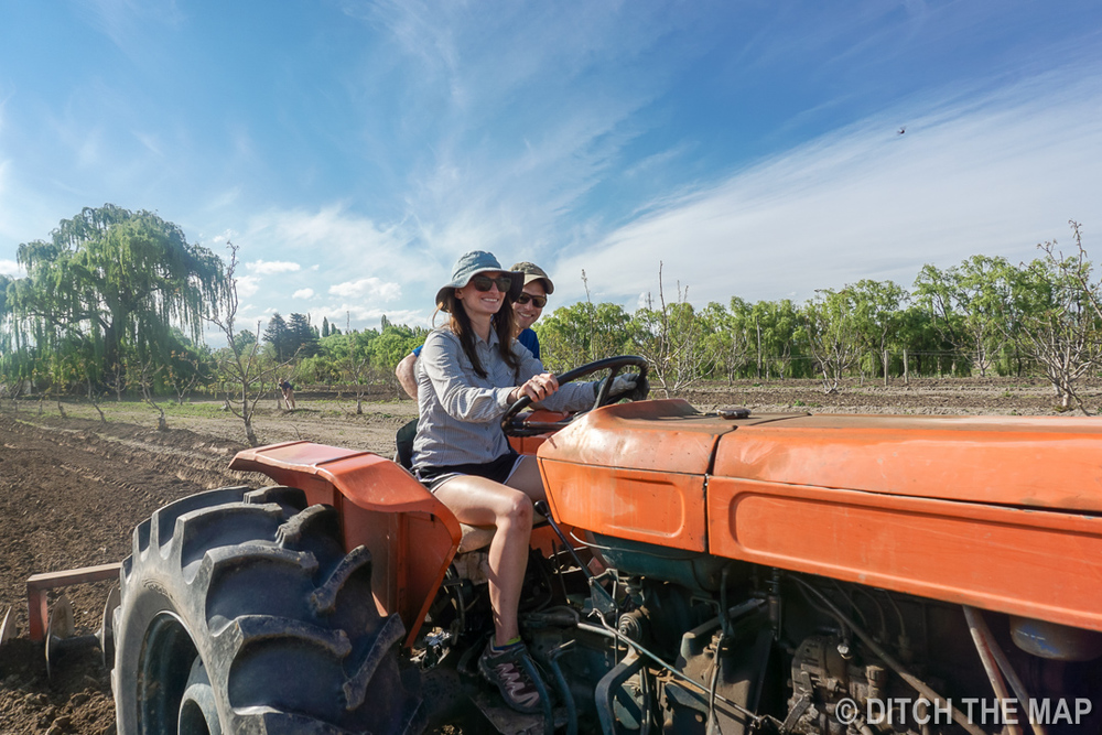 We learn how to ride a tractor in Tupungato, Argentina