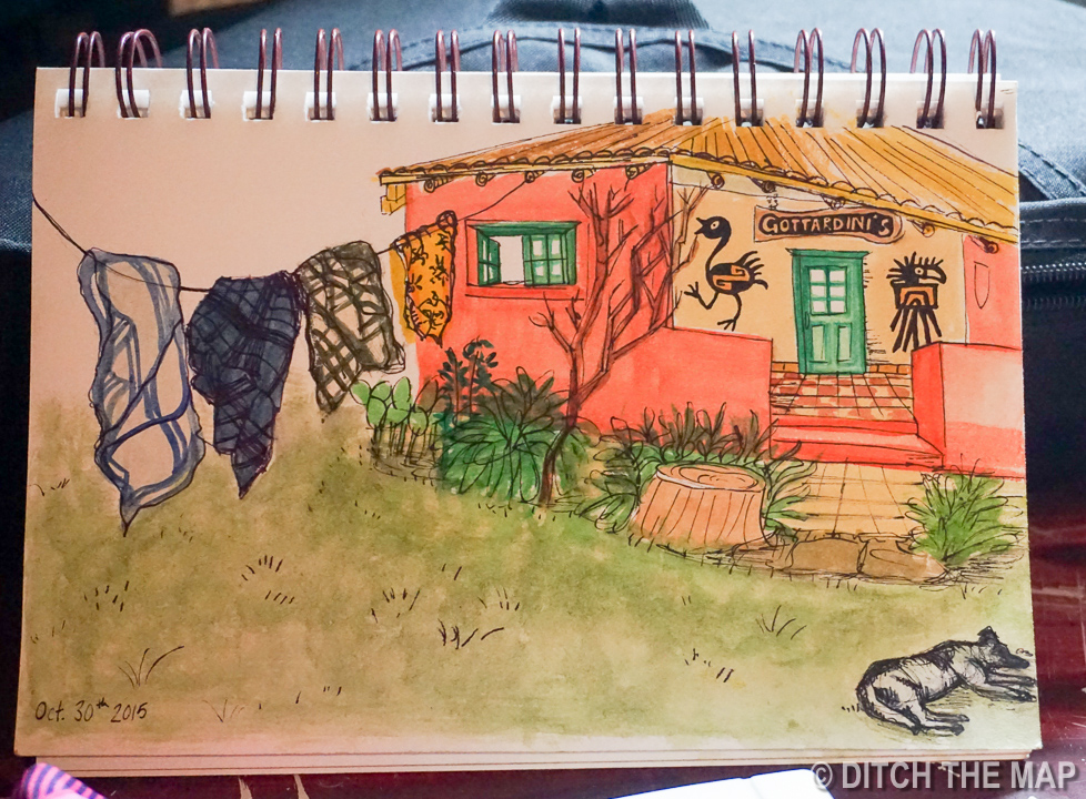 Sylvie draws our farmhouse in Tupungato, Argentina and give it as a gift to our lovely Workaway host, Orlando!