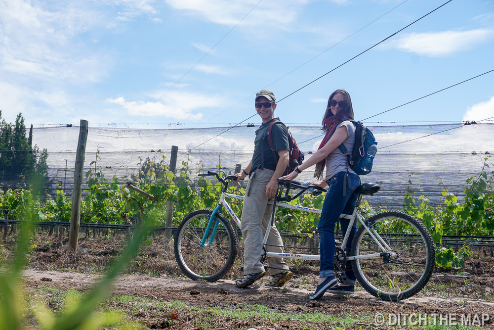 Sylvie and I test out our tandem bike in Maipu, Argentina