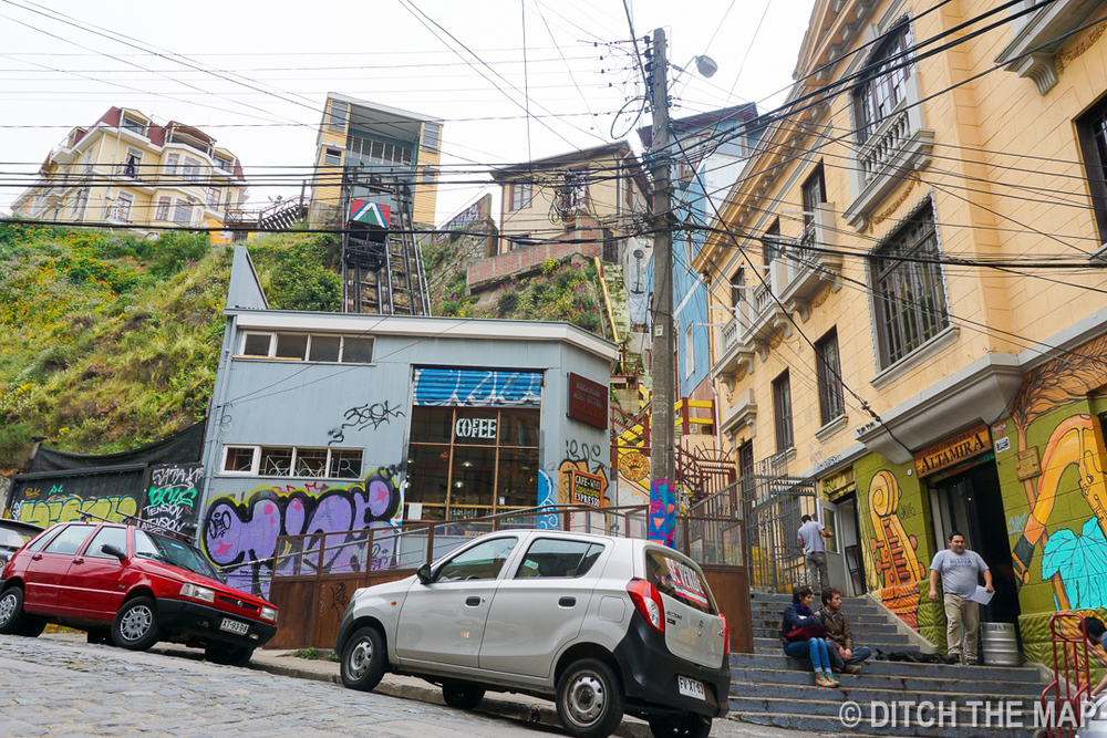One of the many lifts in the city of Valparaiso, Chile