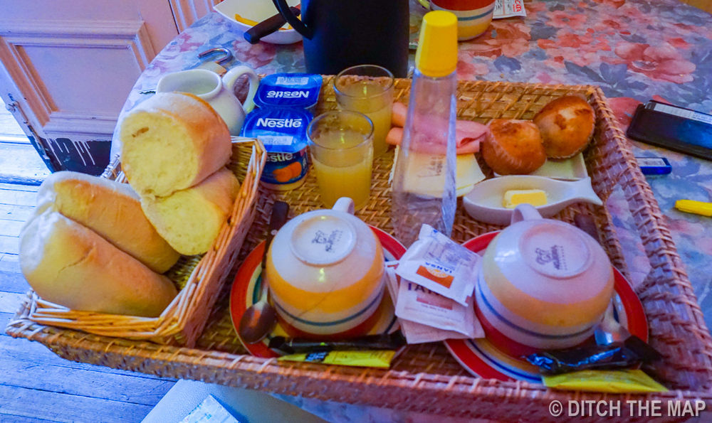 Breakfast at our hostel in Valparaiso, Chile