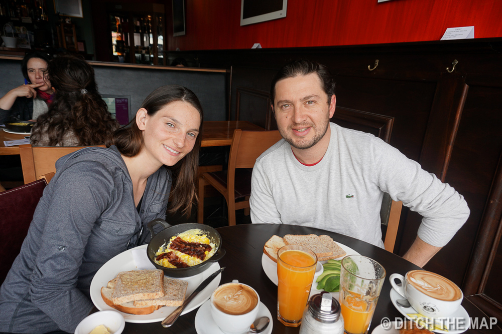 Breakfast with our Airbnb Hose in Puerto Varas, Chile