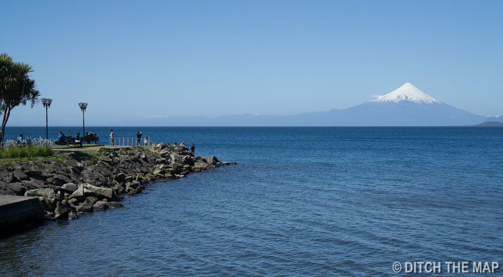 The docks and volcano in Puerto Varas, Chile