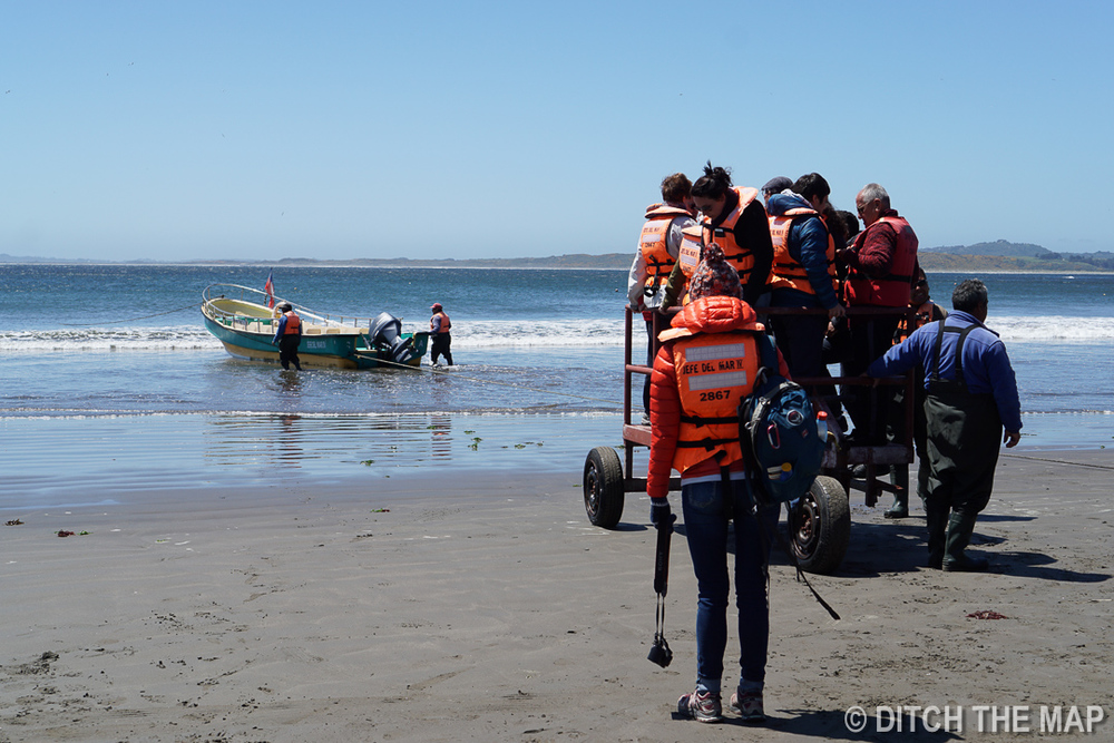 Getting pulled to a boat in Chiloe, Chile