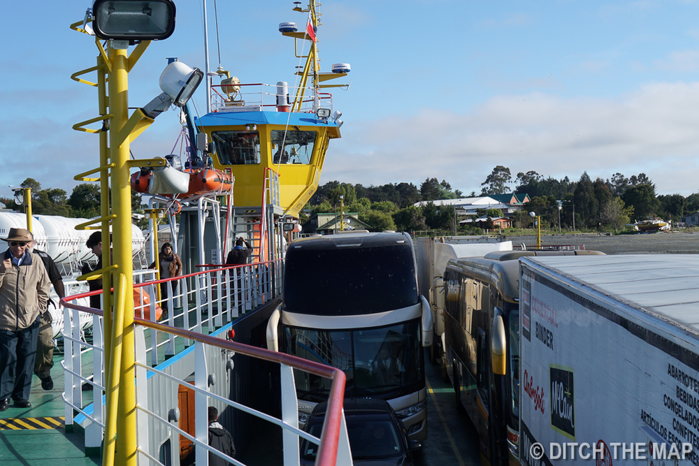 Crossing the water to get to Chiloe, Chile