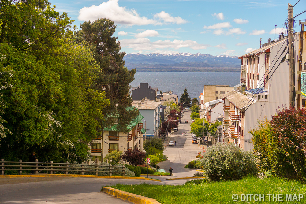Walking from bus station to the city center of Bariloche, Argentina