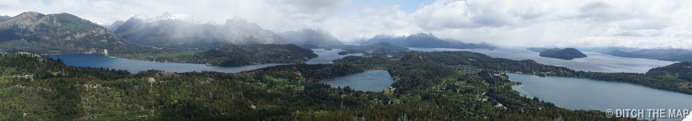 A grand view from atop Cerro Campanario outside Bariloche, Argentina