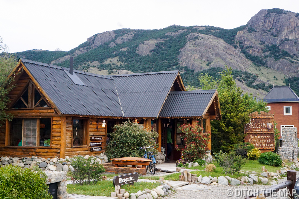 One of the many cute log cabin restaraunts in the city of El Chalten, Argentina
