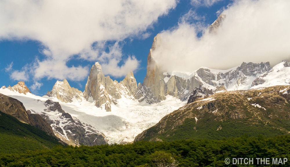 Our first full view of Mt. Fitz Roy in El Chalten, Argentina