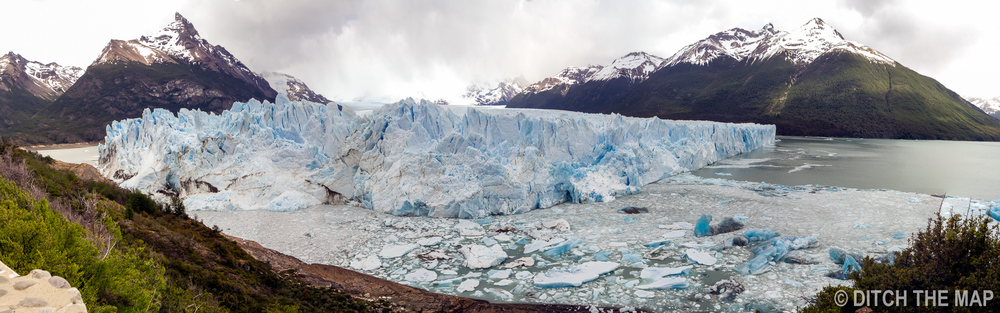 Panoramic view of Perito Moreno Glacier just outside El Calafate, Argentina