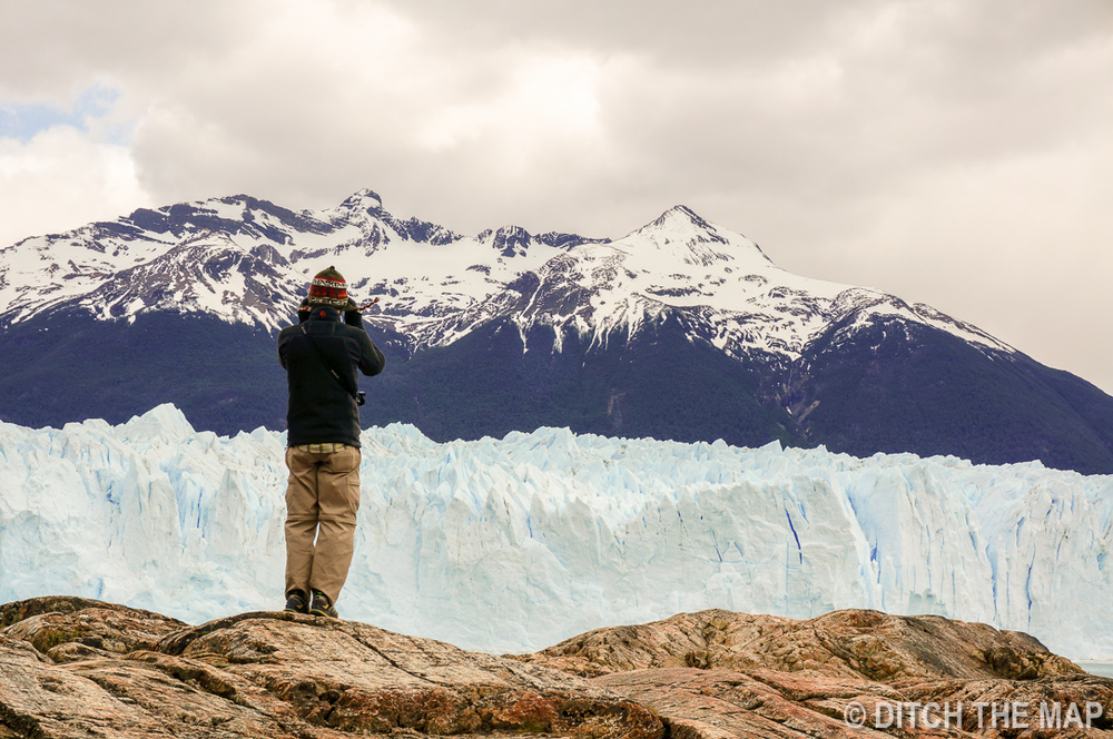 Taking photos of Perito Moreno Glacier just outside El Calafate, Argentina