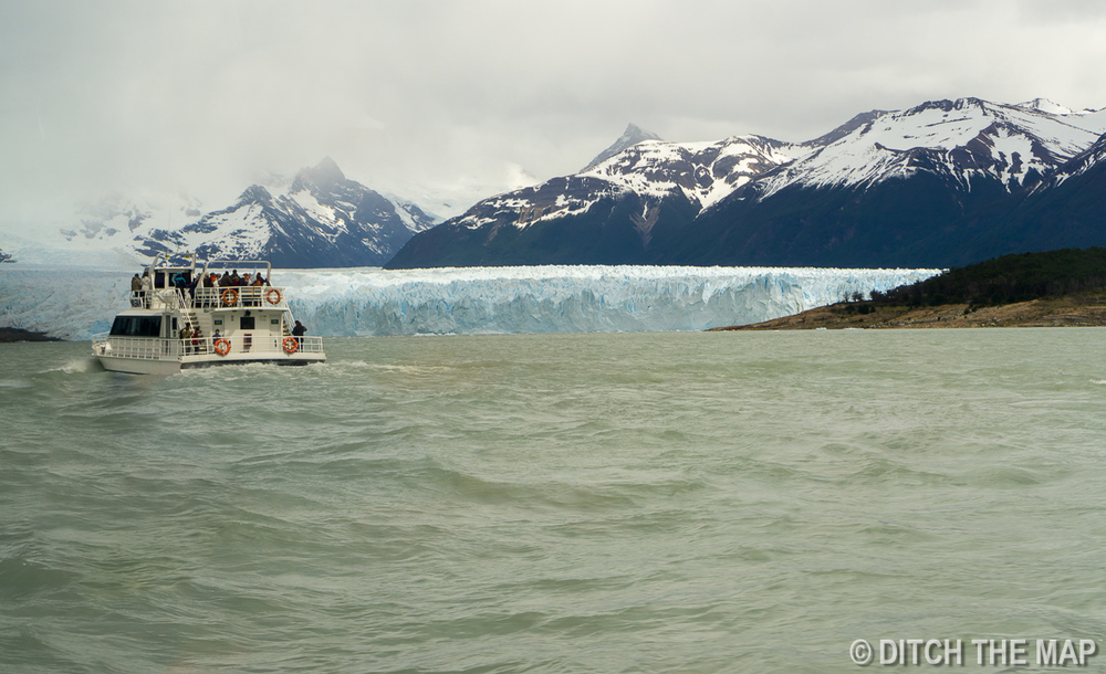 We take a ferry to hike atop the Perito Moreno Glacier just outside El Calafate, Argentina