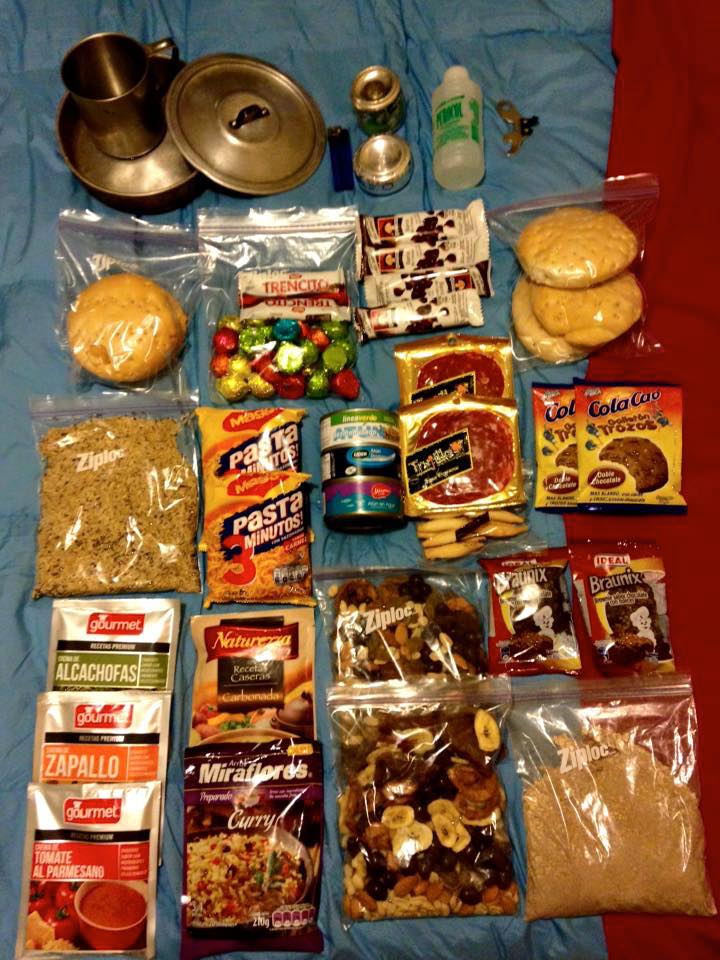 Our camping food for 5 days on the W-Trek in Torres del Paine, Chile