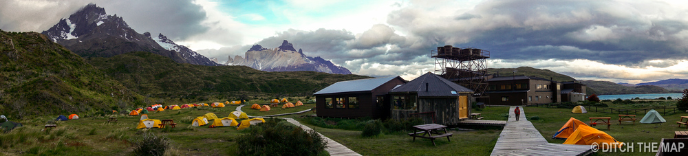 Our campsite at Paine Grande in Torres del Paine, Chile