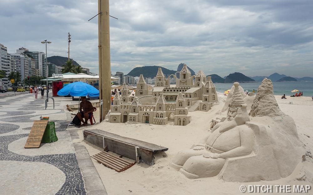 Along Copacabana Beach in Rio de Janeiro, Brazil